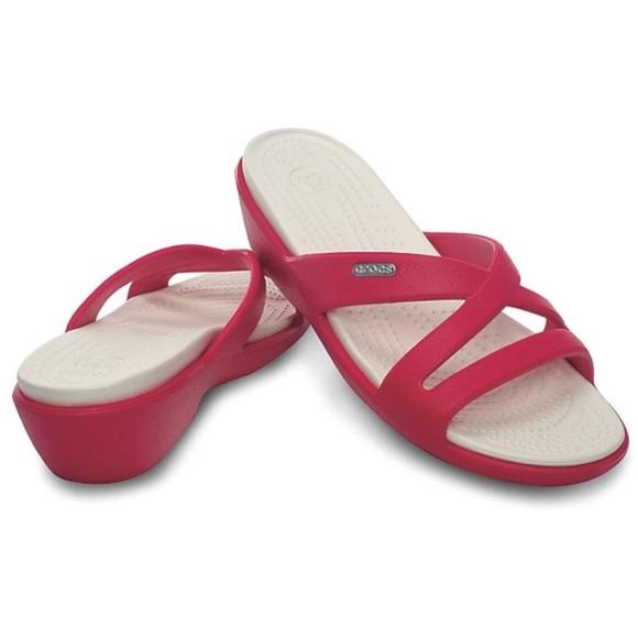 6e521acd55eea CROCS Shoes - CROCs  Patricia  raspberry wedge flatform sandals